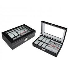 Óratartó doboz 6 óra 3 szemüveg számára - Fekete