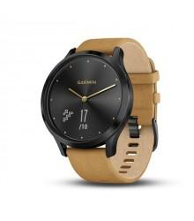 Garmin vívomove HR Premium Onyx Black mustársárga bőr szíjjal (127-204 mm.) okosóra